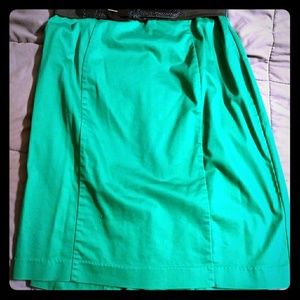 Belted Green Pencil Skirt
